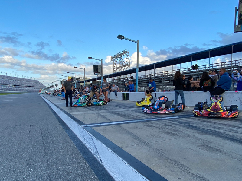Winner Kevin Colborn's 175 gridded first of 50 LO206 karts at Daytona Road Race