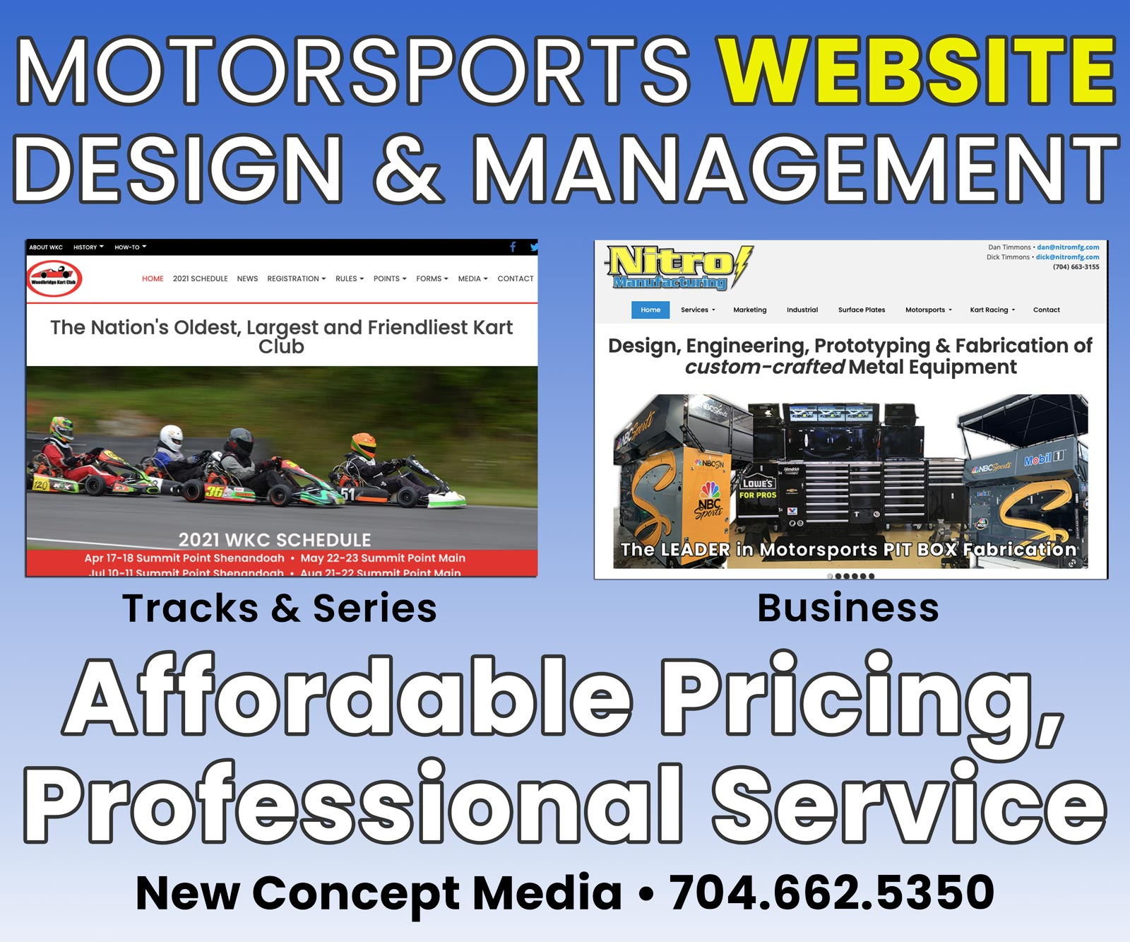 motorsports racing website designer