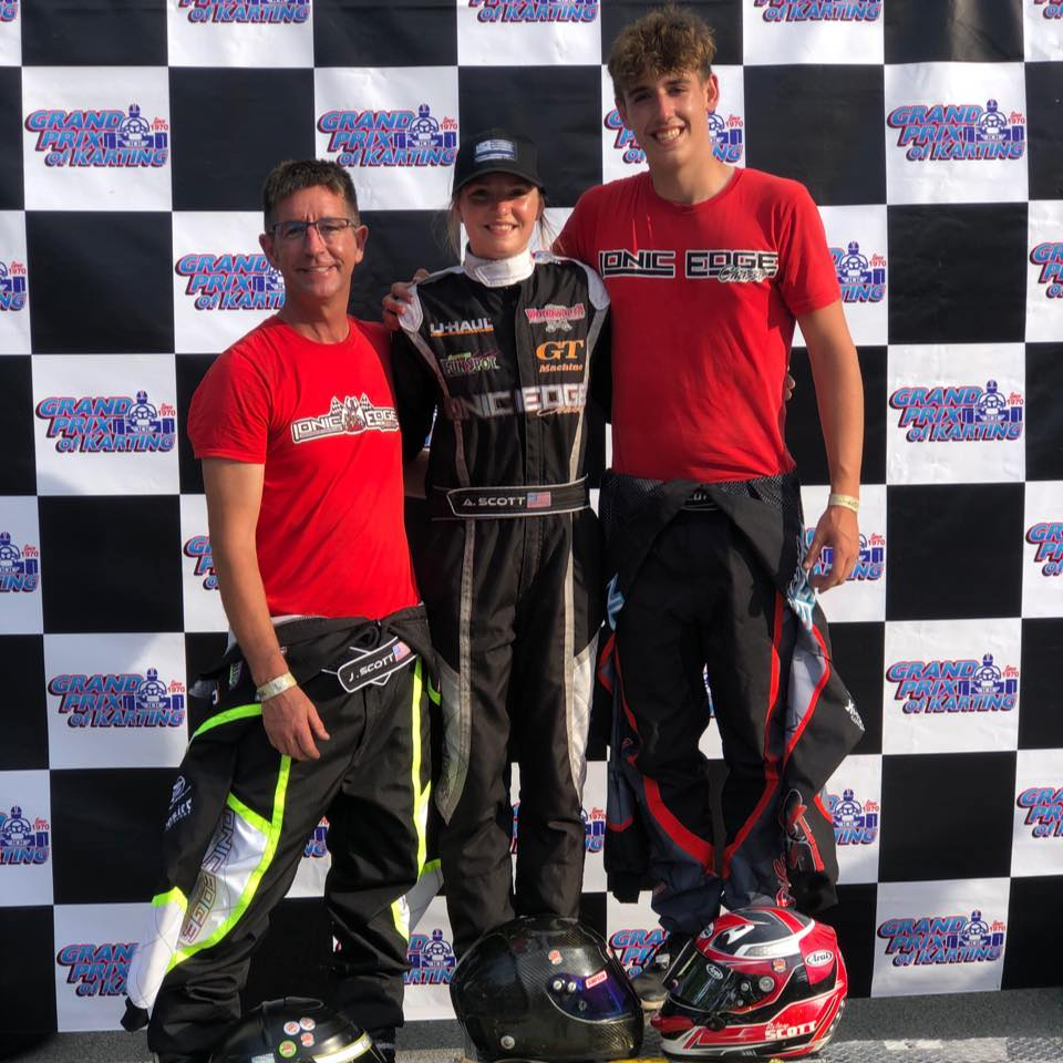 Jeff, Avery and Riley Scott after six podiums at the 2021 Quincy Grand Prix (Scott photo)