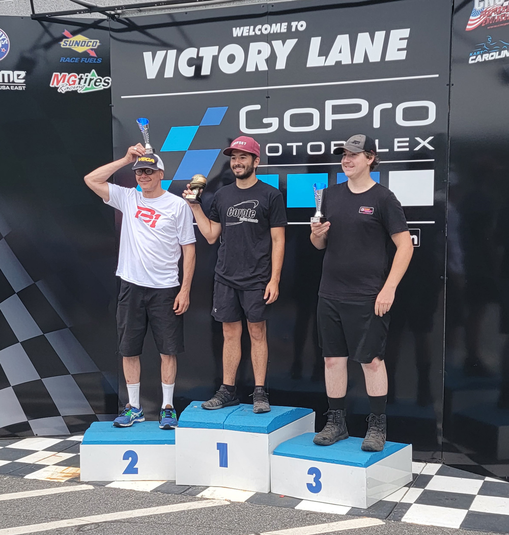 Briggs Sr podium: winner Massimino, Baron (P2) and Turner (P3) (PPK photo)