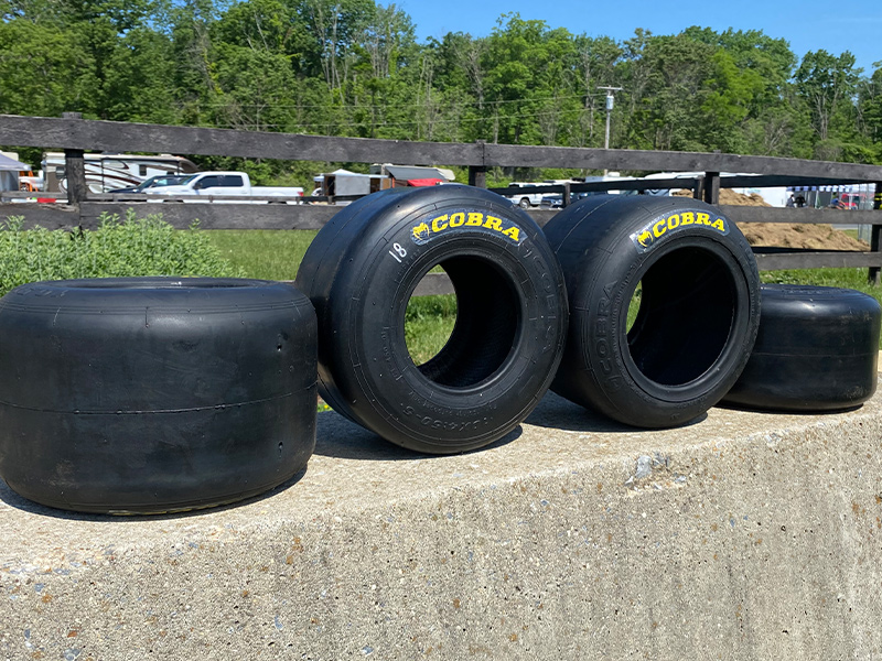 The new Cobra road race tires on display at Summit Point