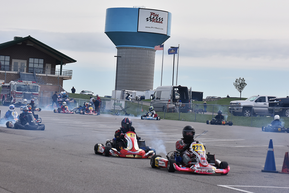 Shifter karts head out to practice on Pitt Race's 2.78 Full Circuit (Bruce Walls)